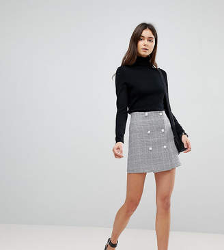 Asos Tall TALL Double Breasted Mini Skirt in Check with Buttons