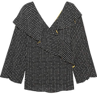 Diane von Furstenberg Ruffled Polka-dot Silk Crepe De Chine Wrap Top - Black