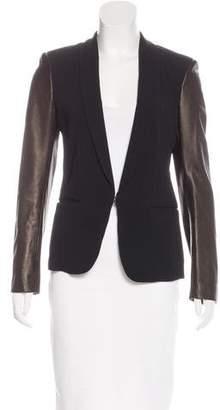 Rag & Bone Lamb Leather-Accented Shawl Collar Blazer