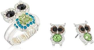 Betsey Johnson Pave Owl Stretch Ring and Stud Earrings Jewelry Set