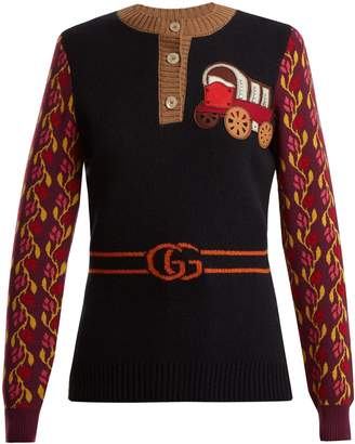 Gucci Wagon and tiger-appliqué wool-blend sweater
