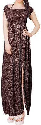 uxcell® Women Smocked Upper Double Slits Floral Long Empire Waist Dress