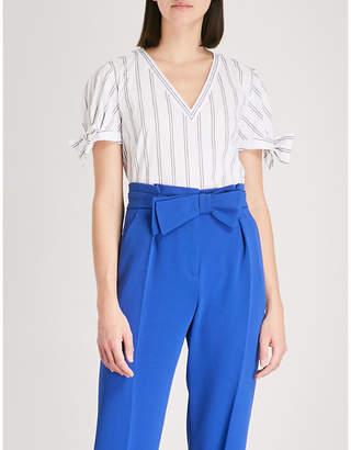 Claudie Pierlot Striped V-neck cotton-blend top