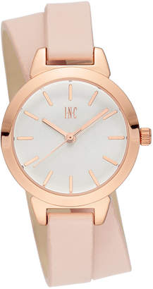 INC International Concepts I.n.c. Women Blush Faux Leather Double Wrap Strap Watch 30mm