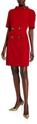 Badgley Mischka Ruby Four-Button Mock-Neck Short-Sleeve Sheath Dress
