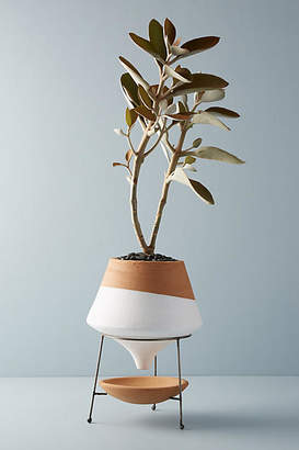 Anthropologie Dipped Clay Pot + Stand