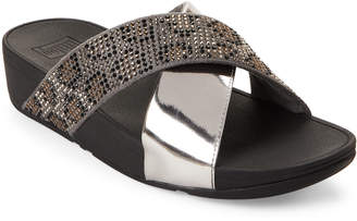 FitFlop Steel Grey Lulu Leopard-Crystal Slide Sandals