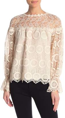 Champagne & Strawberry Long Sleeve Lace Blouse
