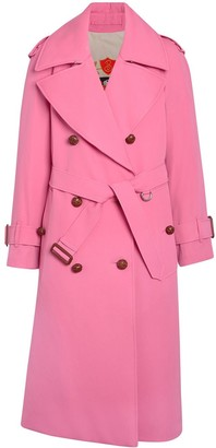 Burberry Oversized Lapel Wool Gabardine Trench Coat