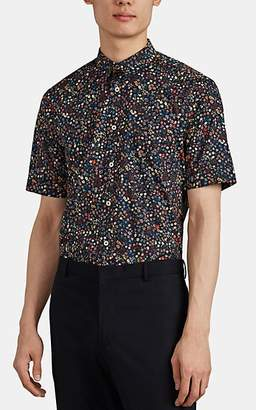 Paul Smith Men's Floral Cotton Poplin Shirt - Blue