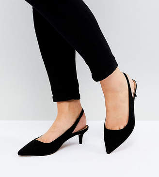 Asos Design SPIRIT Wide Fit Slingback Kitten Heels