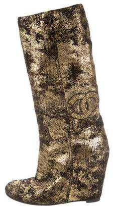 Chanel Metallic CC Wedge Boots