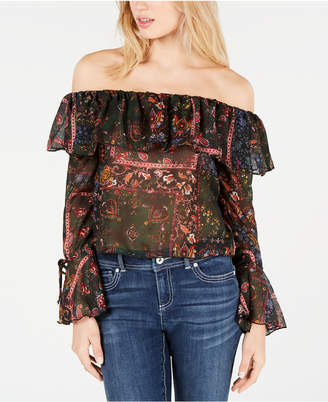 Project 28 Nyc Juniors' Printed Off-The-Shoulder Ruffle Blouse