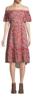 Adelyn Rae Printed Off-the-Shoulder Dress