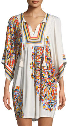 Tory Burch Psycho Geo Embroidered Coverup Tunic