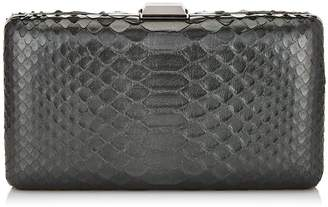 Jimmy Choo CLEMMIE Anthracite Metallic Python Clutch Bag