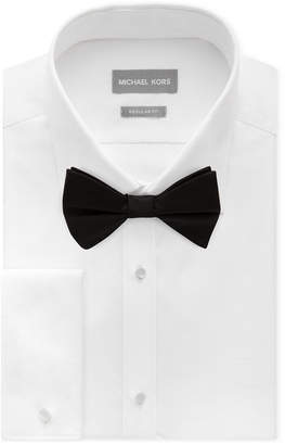 Michael Kors Men's Classic/Regular Fit Non-Iron Performance French Cuff Formal Dress Shirt & Pre-Tied Silk Bow Tie Set