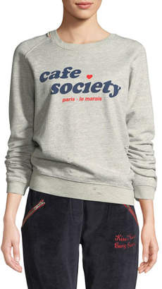 Zoe Karssen Cafe Society Distressed Graphic Sweatshirt