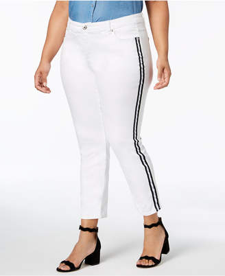 INC International Concepts I.n.c. Plus Size Ribbon-Trim Skinny Ankle Jeans, Created for Macy's