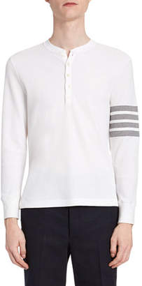 Thom Browne Men's Waffle-Knit Henley Shirt with 4-Bar Stripe