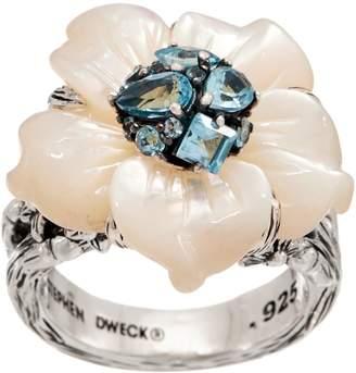 Stephen Dweck Ships 2/18 Sterling Silver Gemstone Flower Ring,