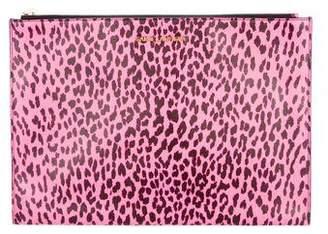 Saint Laurent Leopard Print Leather Zip Pouch