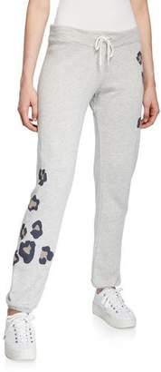 Monrow Oversized Leopard-Print Drawstring Vintage Sweatpants