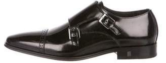 Versace Leather Monk Strap Shoes