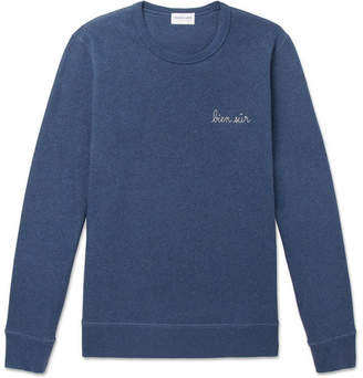 Maison Labiche Embroidered Mélange Fleece-Back Cotton-Jersey Sweatshirt