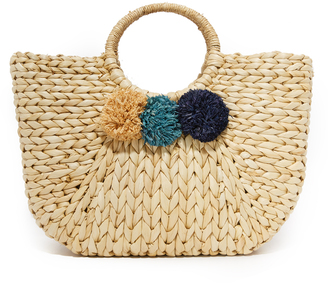 Hat Attack Round Handle Pom Pom Tote