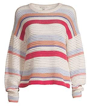 Joie Women's Diza Striped Cotton Long-Sleeve Sweater