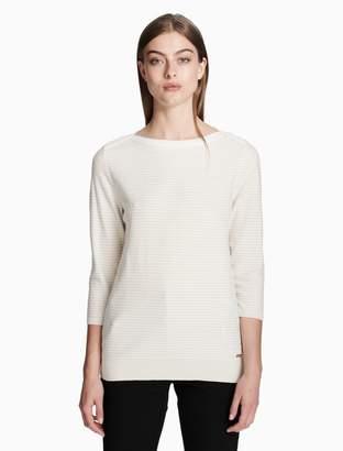 Calvin Klein striped 3/4 sleeve top
