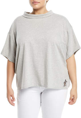 Lumie Sequin-Star Tie-Back Short-Sleeve Blouse, Plus Size, Gray