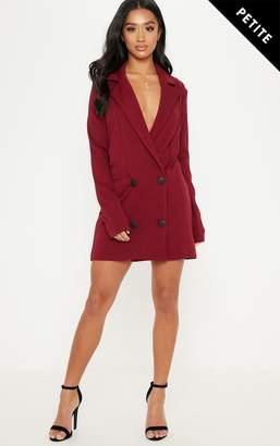 PrettyLittleThing Petite Burgundy Button Detail Blazer Dress