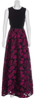 Carmen Marc Valvo Floral Embellished-Accent Dress w/ Tags Black Floral Embellished-Accent Dress w/ Tags