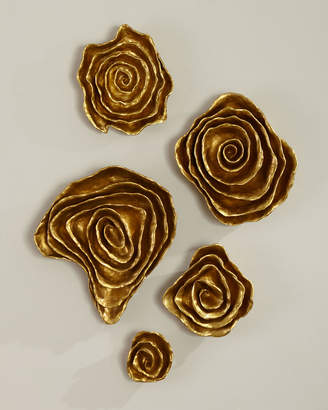 Jamie Young Freeform Floral Wall Plaques - Golden Finish, Set of 5
