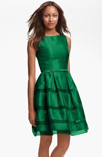 Taylor Dresses Tonal Stripe Fit & Flare Dress