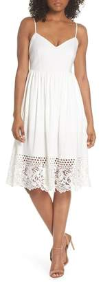 French Connection Salerno Lace Trim Jersey Dress