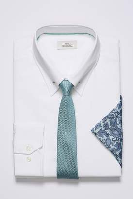 Mens White Slim Fit Collar Pin Shirt With Mint Tie