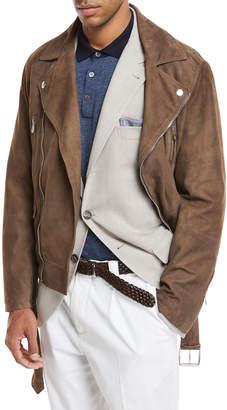Brunello Cucinelli Suede Asymmetric Moto Jacket