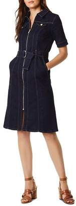 Karen Millen Zip-Front Denim Shirt Dress