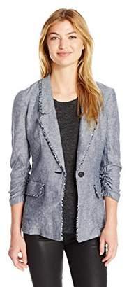 Jones New York Women's Crossdye Linen Washed Boyfriend Blazer