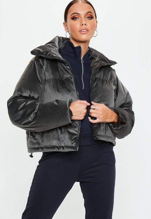 Grey Velvet Puffer Jacket, Grey