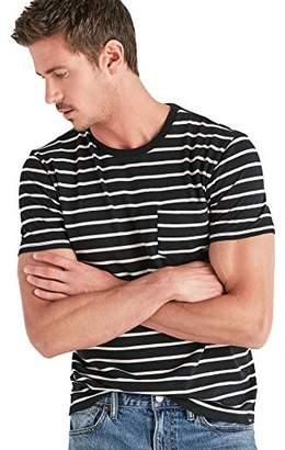 Lucky Brand Men's Casual Short Sleeve Stripe ONE Pocket Crew Neck TEE