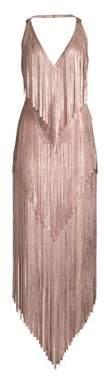 Herve Leger Mid-Calf Foil Fringe Dress
