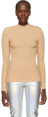 Balmain Beige Rib Knit Sweater
