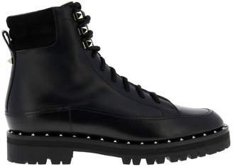 Valentino Garavani Flat Booties Rockstud Ankle Boot In Genuine Leather With Metal Studs