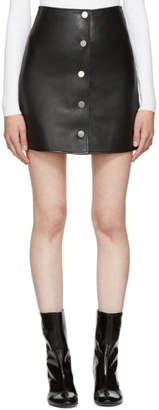 Courreges Black Leather Button Miniskirt