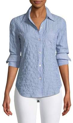 Theory Classic Striped Button-Front Top