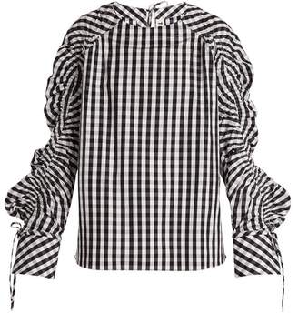 Teija - Smocked Sleeve Striped Cotton Top - Womens - Black White